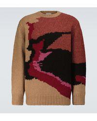 Dries Van Noten Pullover aus Merinowolle mit Intarsie - Rot