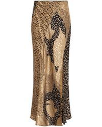 RIXO London Parker Leopard-print Silk Skirt - Brown