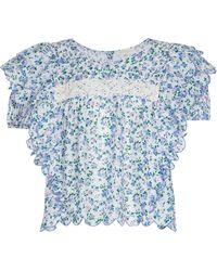 LoveShackFancy Blusa Nelson de algodón floral - Azul