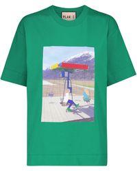Plan C Camiseta de algodón con logo - Verde