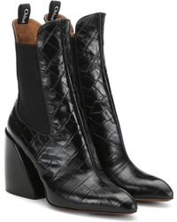 Chloé Wave Embossed Leather Ankle Boots - Black