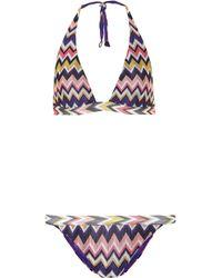 Missoni Bikini de croché cuello halter - Multicolor