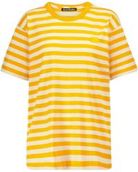 Acne Studios T-shirt a righe in cotone - Giallo
