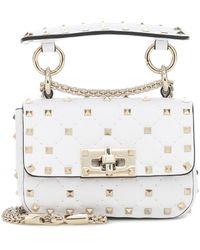 Valentino Garavani Rockstud Spike Micro Leather Crossbody Bag - White