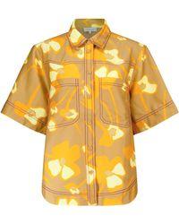 Lee Mathews Wren Linen-blend Shirt - Yellow