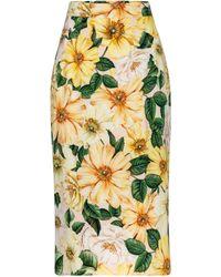 Dolce & Gabbana Gonna midi a stampa floreale in seta - Giallo
