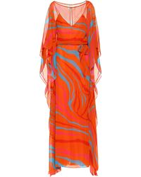 Roberto Cavalli Printed Silk Maxi Dress - Red