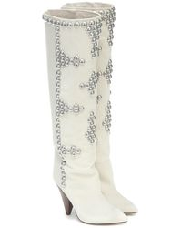 Isabel Marant Lyork Suede Knee-high Boots - White