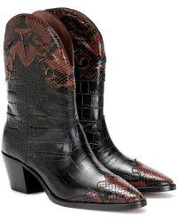 Paris Texas Stivali texani in pelle stampata - Nero