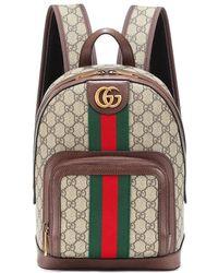 Gucci Zaino Ophidia GG Small in tessuto e pelle - Marrone