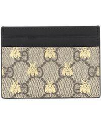 Gucci GG Supreme Bees Card Holder - Natural