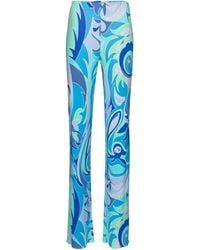 Emilio Pucci Exclusivo en Mytheresa – pantalones de punto fino estampados - Azul