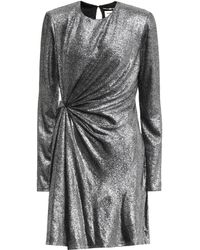Saint Laurent Gathered Front Mini Dress - Metallic