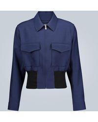Lanvin Wool And Silk-blend Blouson Jacket - Blue