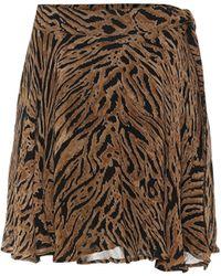 Ganni Tiger-printed Georgette Miniskirt - Multicolor