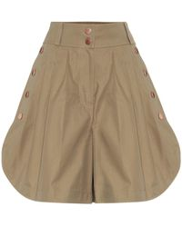 See By Chloé High-rise Wide-leg Cotton Shorts - Brown