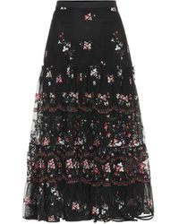 Tory Burch Crepe-trimmed Embroidered Tulle Midi Skirt - Black