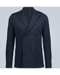 Harris Wharf London Double-breasted Cotton Blazer - Blue
