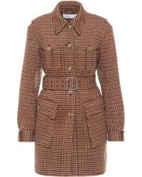 Chloé Karierter Mantel aus Wolle - Braun