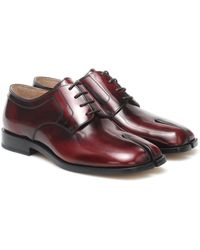 Maison Margiela Tabi Leather Derby Shoes - Red