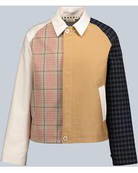 Marni Paneled Checked Jacket - Natural