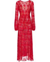 ROTATE BIRGER CHRISTENSEN Vestido largo Lisa de encaje - Rojo