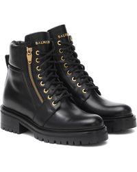 Balmain Ankle Boots aus Leder - Schwarz