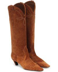 Khaite Dallas Suede Western Boots - Brown