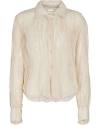 Khaite Francoise Cotton And Silk-blend Shirt - Natural