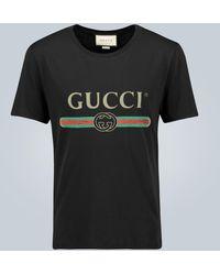 Gucci Oversize-T-Shirt aus Baumwolle - Schwarz