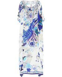 Camilla Caftán de seda estampado - Azul