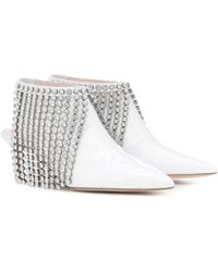 Christopher Kane Crystal Patent Leather Ankle Boots - White