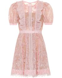 Self-Portrait Sequin Lace Mini Dress - Pink