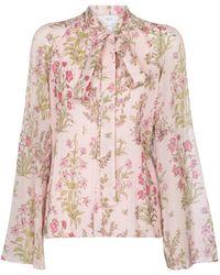 Giambattista Valli Floral Silk Georgette Blouse - Pink