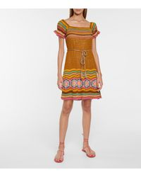 Anna Kosturova Lila Crochet Minidress - Brown