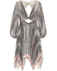 Zimmermann Corsage Twist-front Cutout Floral-print Organza Mini Dress Animal Print - Gray