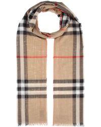 Burberry Bufanda de lana y seda de cuadros - Multicolor