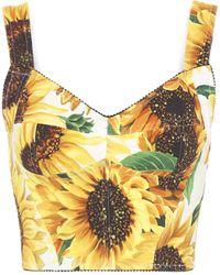 Dolce & Gabbana Sunflower-print Cady Bustier - Yellow