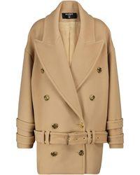Balmain Oversized Wool-blend Coat - Brown
