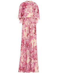 Giambattista Valli Robe longue imprimée en soie - Rose
