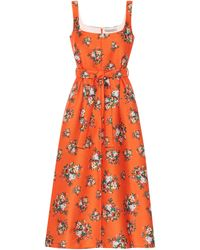 Emilia Wickstead Vestido midi Shaina floral - Naranja