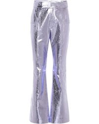 Philosophy Di Lorenzo Serafini High-rise Leather Flared Trousers - Pink