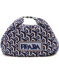 Prada Jacquard Trapper Hat - Blue