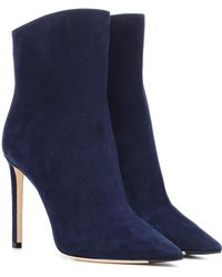 Jimmy Choo Helaine 100 Suede Ankle Boots - Blue