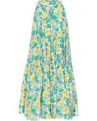 Plan C Falda larga de algodón floral - Azul
