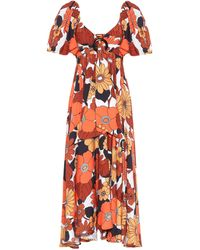 Dodo Bar Or Floral Midi Dress - Orange