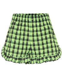 Ganni Shorts In Seersucker Check Con Ruches - Verde
