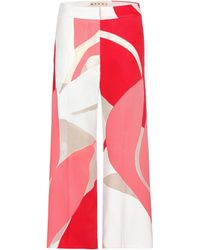 Marni - Printed Wide-leg Trousers - Lyst