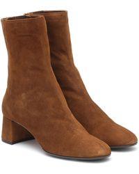 Aquazzura Saint Honoré 50 Suede Ankle Boots - Brown