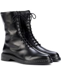 The Row - Fara Leather Ankle Boots - Lyst
